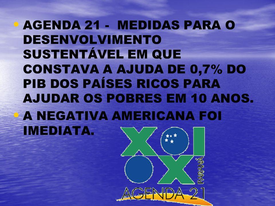AGENDA 21 - MEDIDAS PARA O DESENVOLVIMENTO SUSTENTÁVEL EM QUE CONSTAVA A AJUDA DE 0,7% DO PIB DOS PAÍSES RICOS PARA AJUDAR OS POBRES EM 10 ANOS. A NEG