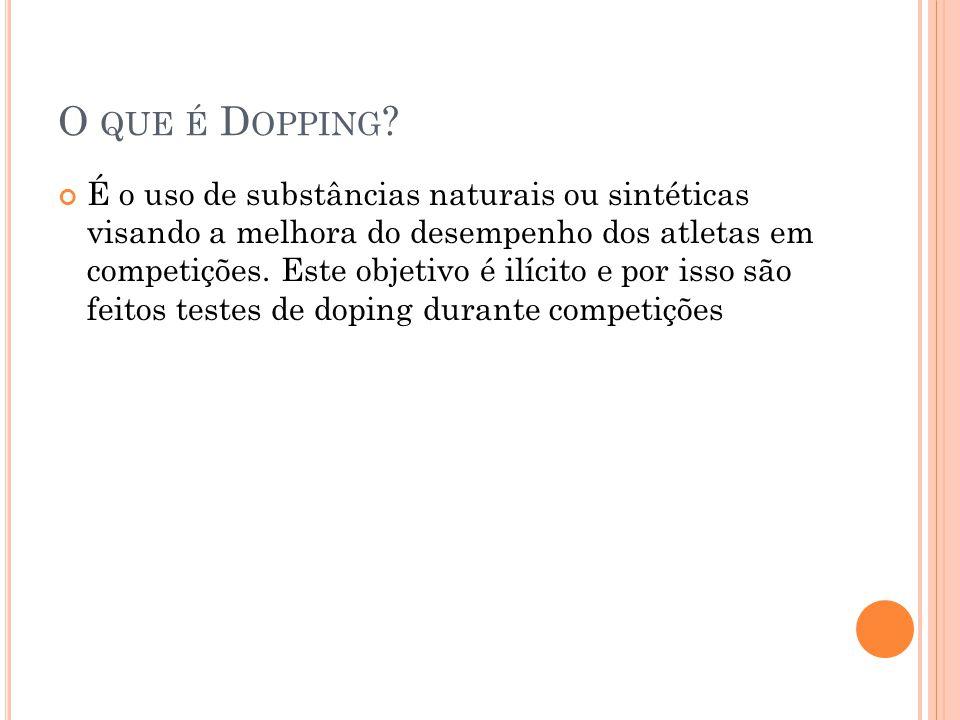 O QUE É D OPPING ? É o uso de substâncias naturais ou sintéticas visando a melhora do desempenho dos atletas em competições. Este objetivo é ilícito e