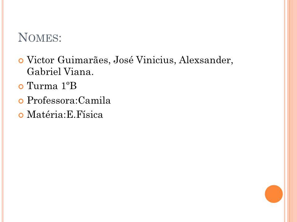 N OMES : Victor Guimarães, José Vinicius, Alexsander, Gabriel Viana. Turma 1ºB Professora:Camila Matéria:E.Física