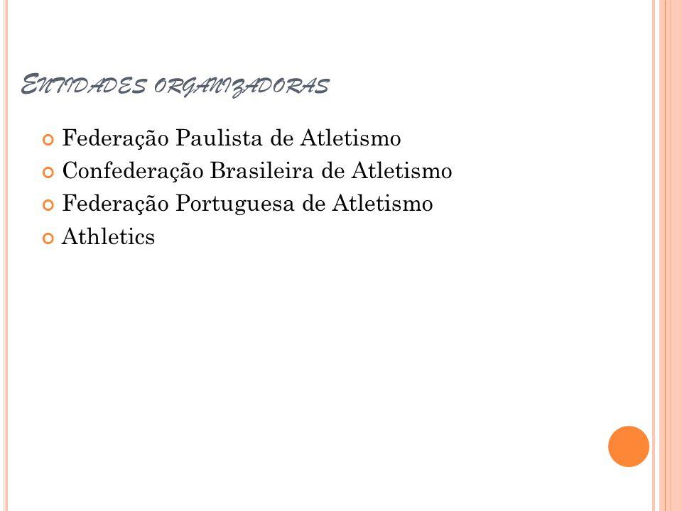 E NTIDADES ORGANIZADORAS Federação Paulista de Atletismo Confederação Brasileira de Atletismo Federação Portuguesa de Atletismo Athletics