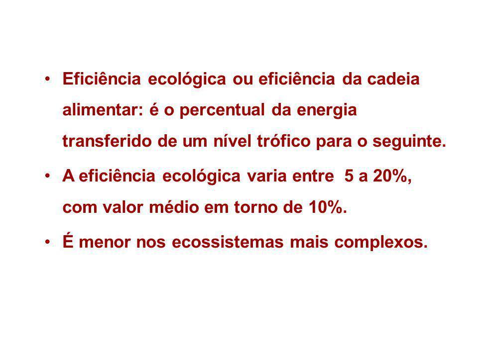 Eficiência ecológica ou eficiência da cadeia alimentar: é o percentual da energia transferido de um nível trófico para o seguinte. A eficiência ecológ