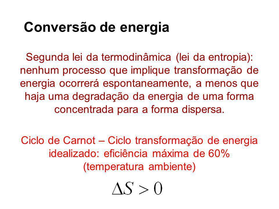 Segunda lei da termodinâmica (lei da entropia): nenhum processo que implique transformação de energia ocorrerá espontaneamente, a menos que haja uma degradação da energia de uma forma concentrada para a forma dispersa.