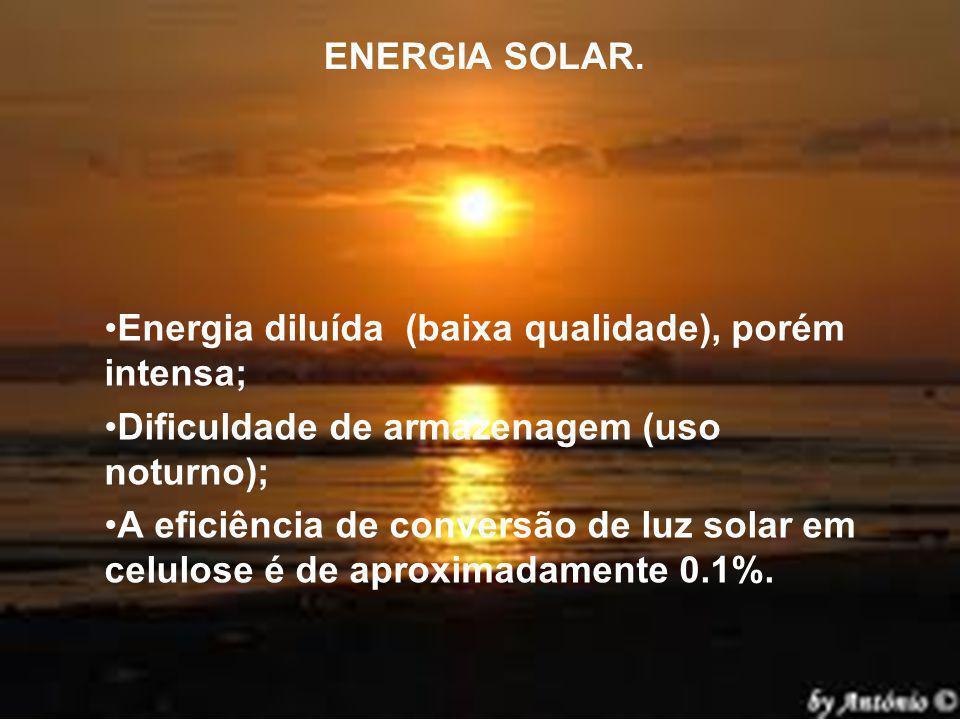 ENERGIA SOLAR. Energia diluída (baixa qualidade), porém intensa; Dificuldade de armazenagem (uso noturno); A eficiência de conversão de luz solar em c