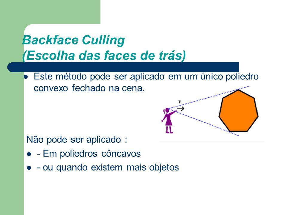 Backface Culling (Escolha das faces de trás) Este método pode ser aplicado em um único poliedro convexo fechado na cena. Não pode ser aplicado : - Em