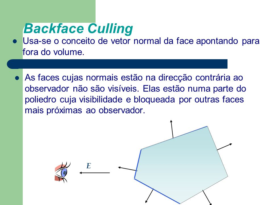 Backface Culling As faces cujas normais estão na direcção contrária ao observador não são visíveis. Elas estão numa parte do poliedro cuja visibilidad