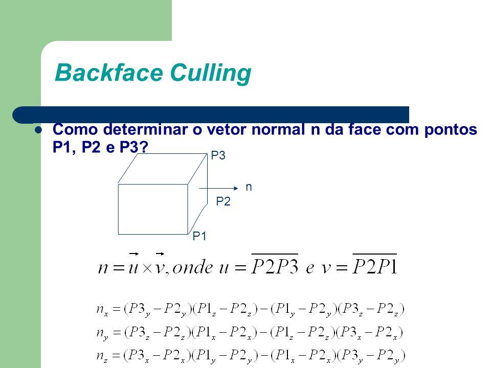 Backface Culling Como determinar o vetor normal n da face com pontos P1, P2 e P3? P3 P2 P1 n