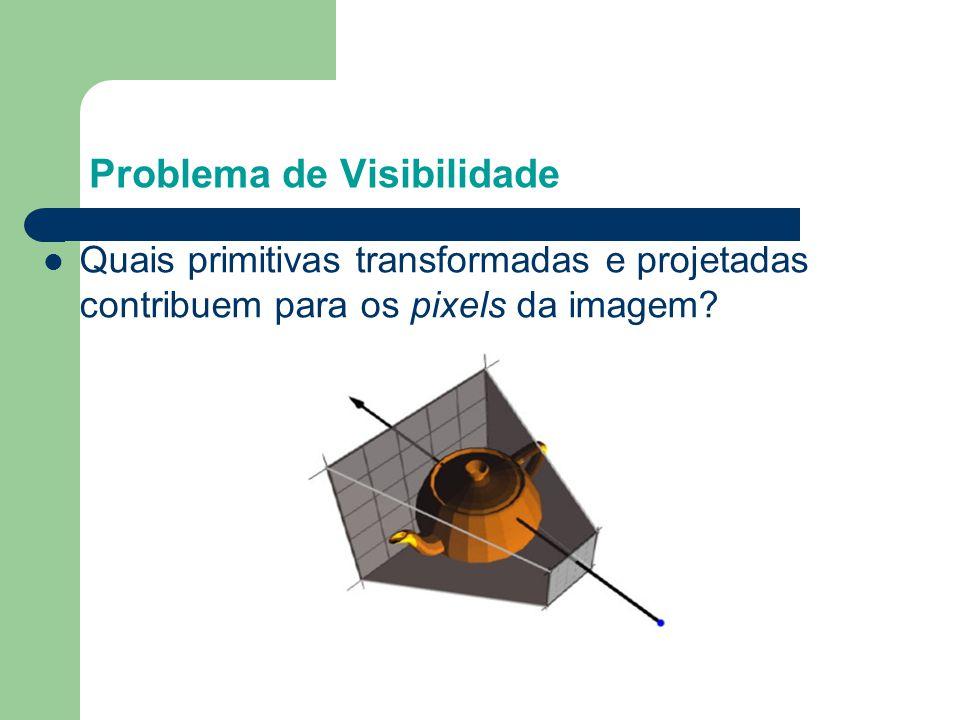 Backface Culling Veja o programa visibilidade.c no qual cada vez que um cubo é rotacionado são exibidas somente as faces visíveis detetadas pelo algoritmo backface culling.