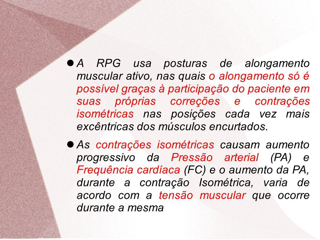 A RPG usa posturas de alongamento muscular ativo, nas quais o alongamento só é possível graças à participação do paciente em suas próprias correções e