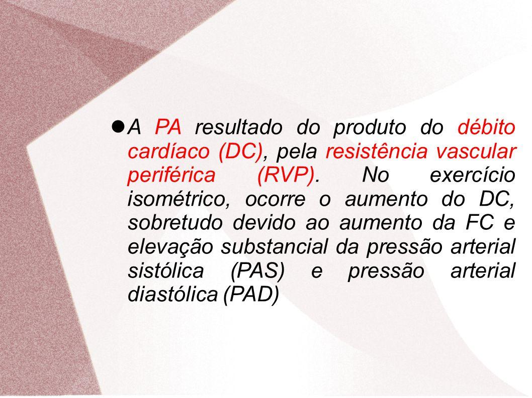 A PA resultado do produto do débito cardíaco (DC), pela resistência vascular periférica (RVP). No exercício isométrico, ocorre o aumento do DC, sobret
