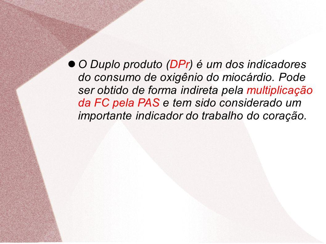 O Duplo produto (DPr) é um dos indicadores do consumo de oxigênio do miocárdio. Pode ser obtido de forma indireta pela multiplicação da FC pela PAS e