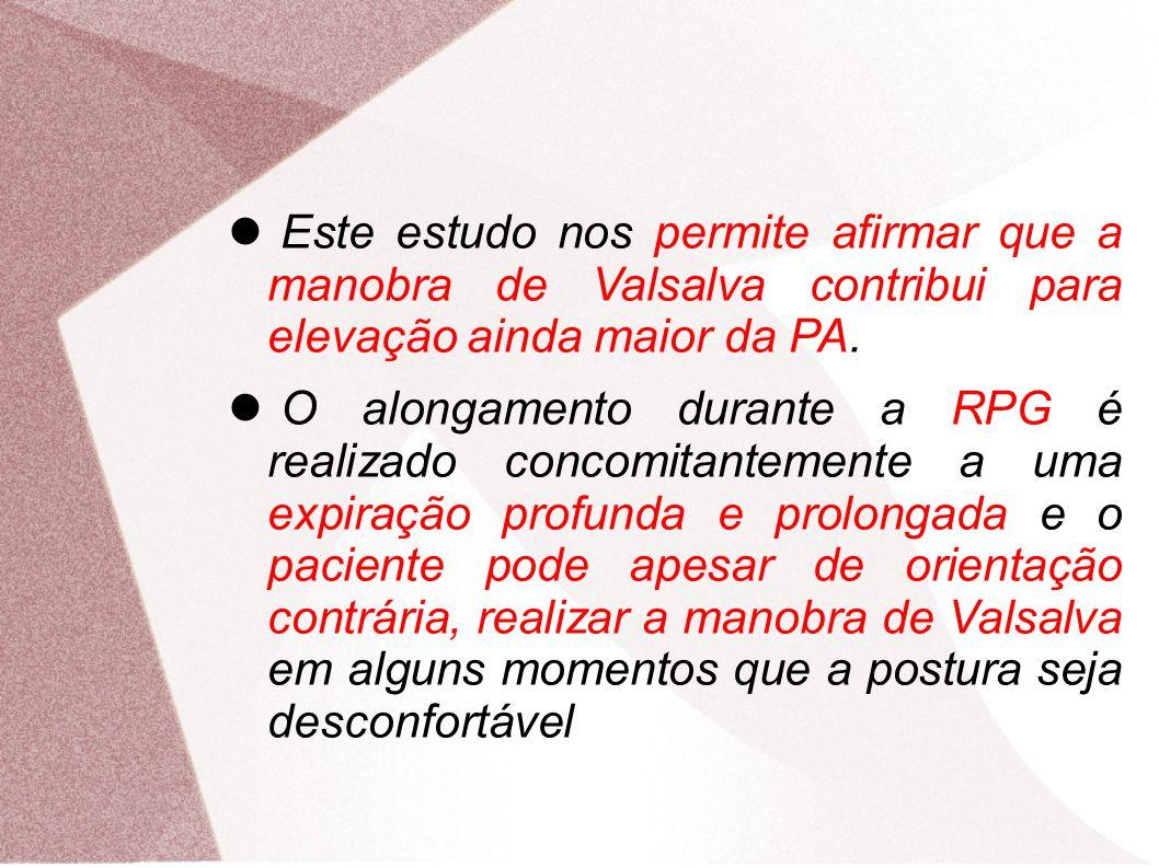 Este estudo nos permite afirmar que a manobra de Valsalva contribui para elevação ainda maior da PA. O alongamento durante a RPG é realizado concomita