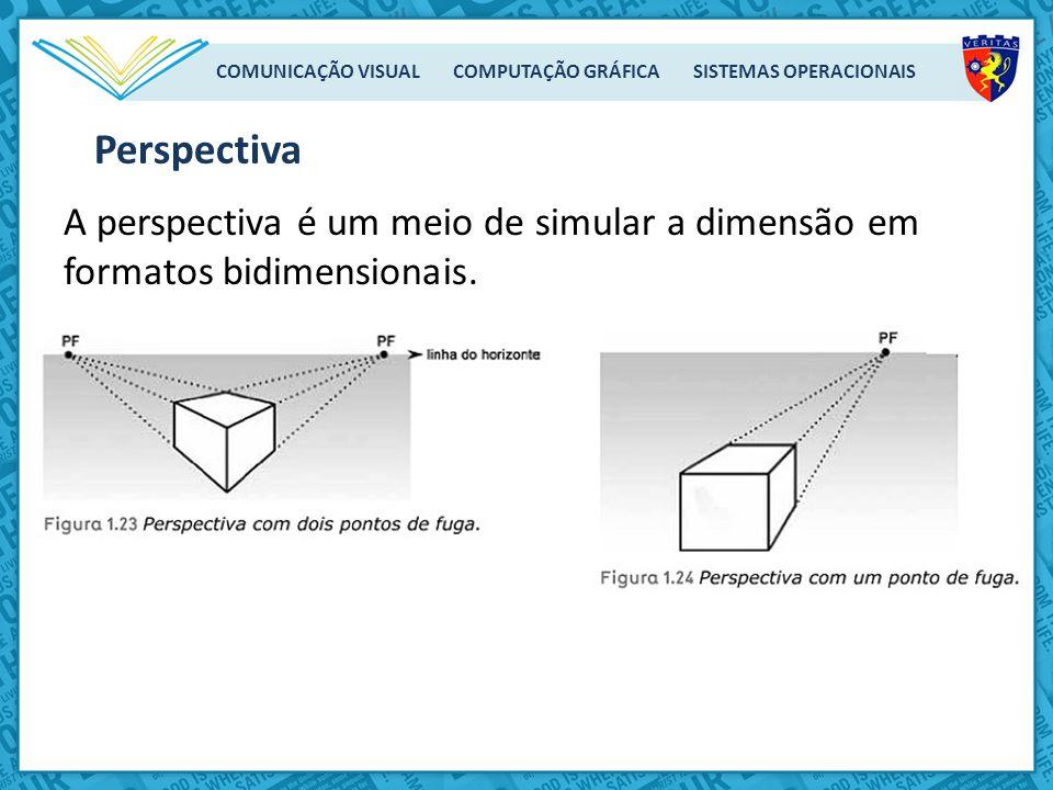 COMUNICAÇÃO VISUAL COMPUTAÇÃO GRÁFICA SISTEMAS OPERACIONAIS A perspectiva é um meio de simular a dimensão em formatos bidimensionais. Perspectiva