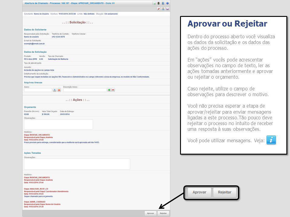 Aprovar ou Rejeitar Dentro do processo aberto você visualiza os dados da solicitação e os dados das ações do processo.