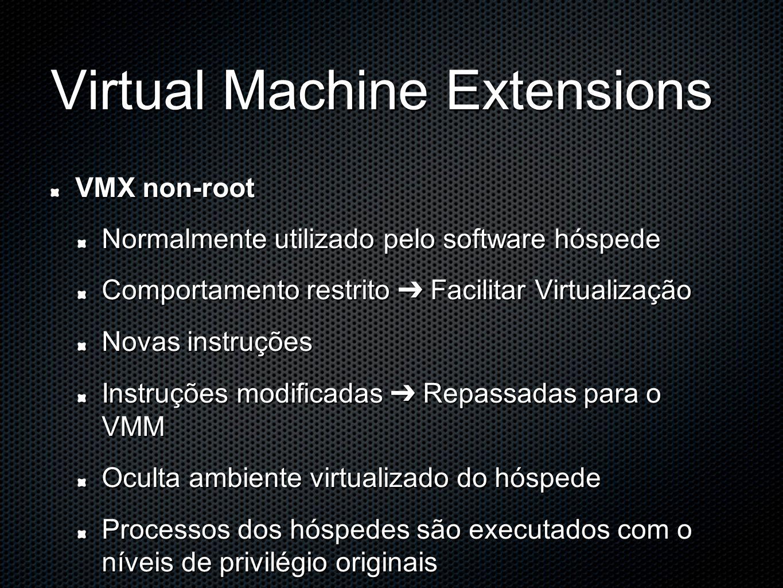 Virtual Machine Extensions VMX non-root Normalmente utilizado pelo software hóspede Comportamento restrito ➔ Facilitar Virtualização Novas instruções Instruções modificadas ➔ Repassadas para o VMM Oculta ambiente virtualizado do hóspede Processos dos hóspedes são executados com o níveis de privilégio originais