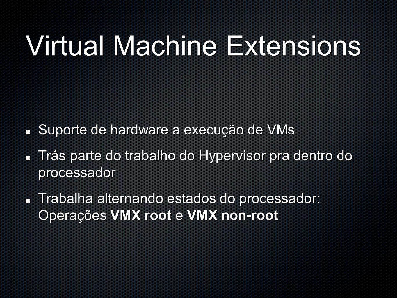Virtual Machine Extensions Suporte de hardware a execução de VMs Trás parte do trabalho do Hypervisor pra dentro do processador Trabalha alternando estados do processador: Operações VMX root e VMX non-root