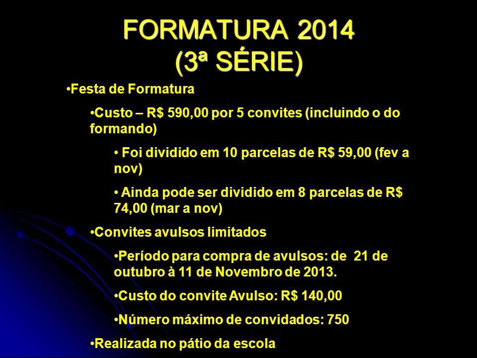FORMATURA 2014 (3ª SÉRIE) Festa de Formatura Custo – R$ 590,00 por 5 convites (incluindo o do formando) Foi dividido em 10 parcelas de R$ 59,00 (fev a