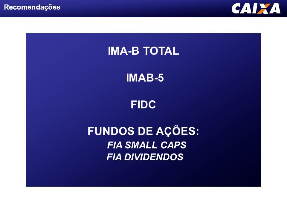 Recomendações IMA-B TOTAL IMAB-5 FIDC FUNDOS DE AÇÕES: FIA SMALL CAPS FIA DIVIDENDOS
