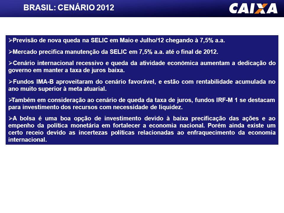 INSTITUIÇÃOPIBIPCACâmbioSELIC CAIXA4,00%5,70%1,8510,00% FOCUS4,50%5,60%1,859,50% INSTITUIÇÃOPIBIPCACâmbioSELIC CAIXA3,00%5,00%1,907,50% FOCUS3,09%5,21%1,858,00% 2013 2012 PROJEÇÕES Relatório FOCUS divulgado em 18/05/2012 Fonte: Banco Central e CAIXA/GERAT