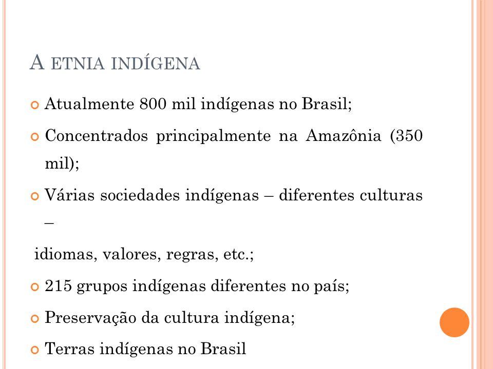 A ETNIA INDÍGENA Atualmente 800 mil indígenas no Brasil; Concentrados principalmente na Amazônia (350 mil); Várias sociedades indígenas – diferentes c