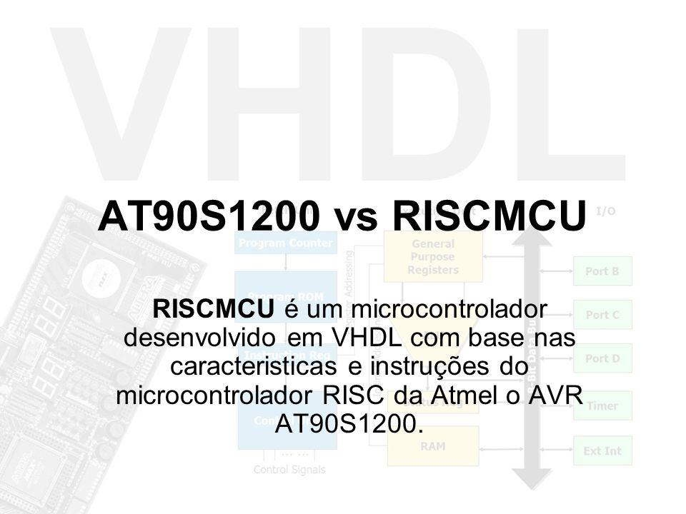 AT90S1200 vs RISCMCU RISCMCU é um microcontrolador desenvolvido em VHDL com base nas caracteristicas e instruções do microcontrolador RISC da Atmel o AVR AT90S1200.