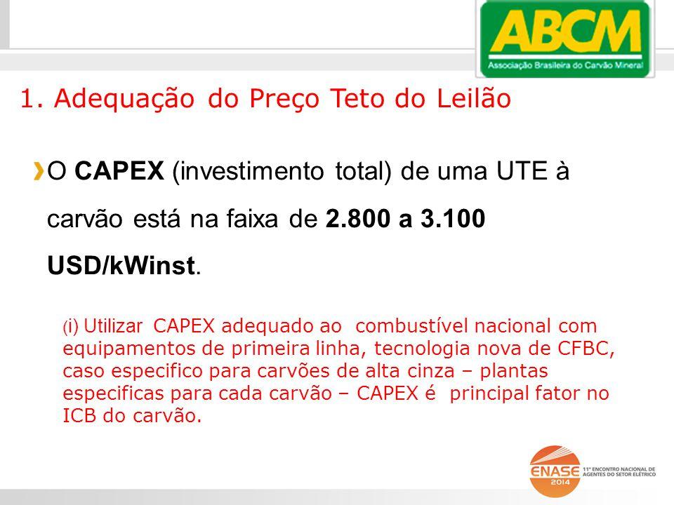 O CAPEX (investimento total) de uma UTE à carvão está na faixa de 2.800 a 3.100 USD/kWinst.