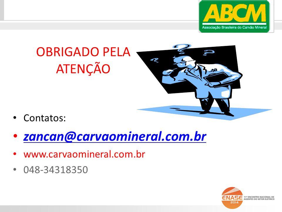 OBRIGADO PELA ATENÇÃO Contatos: zancan@carvaomineral.com.br www.carvaomineral.com.br 048-34318350