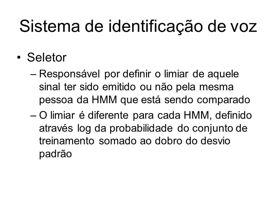 Sistema de identificação de voz Seletor –Responsável por definir o limiar de aquele sinal ter sido emitido ou não pela mesma pessoa da HMM que está se