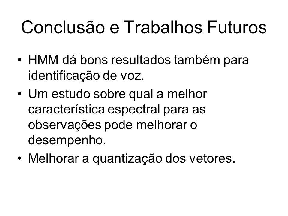 Conclusão e Trabalhos Futuros HMM dá bons resultados também para identificação de voz. Um estudo sobre qual a melhor característica espectral para as
