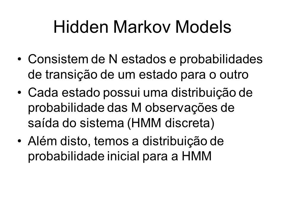 Hidden Markov Models Consistem de N estados e probabilidades de transição de um estado para o outro Cada estado possui uma distribuição de probabilida