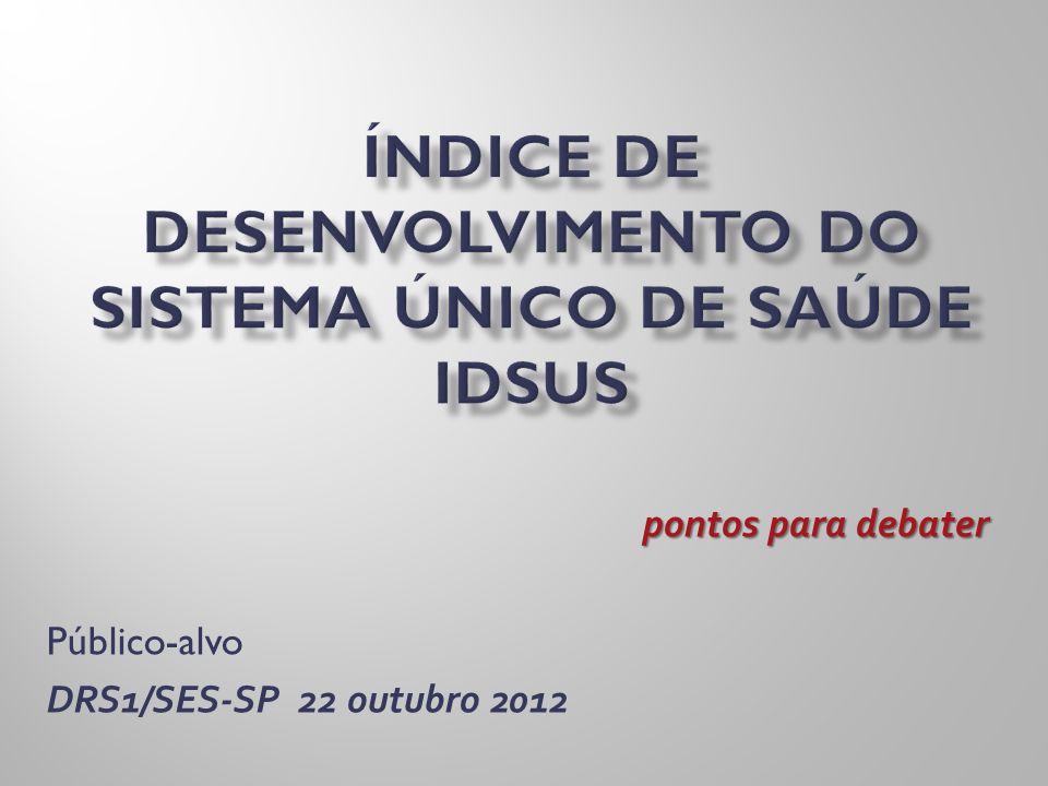 pontos para debater Público-alvo DRS1/SES-SP 22 outubro 2012