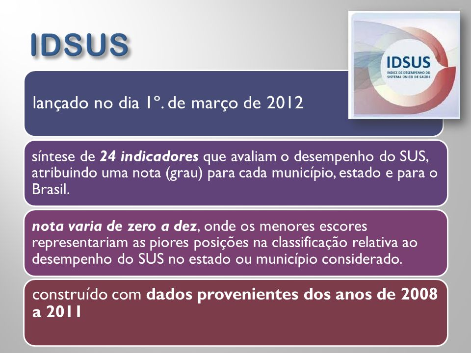 lançado no dia 1º. de março de 2012 síntese de 24 indicadores que avaliam o desempenho do SUS, atribuindo uma nota (grau) para cada município, estado