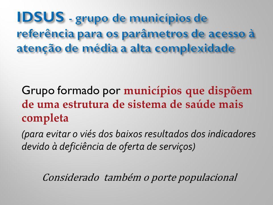 Grupo formado por municípios que dispõem de uma estrutura de sistema de saúde mais completa (para evitar o viés dos baixos resultados dos indicadores