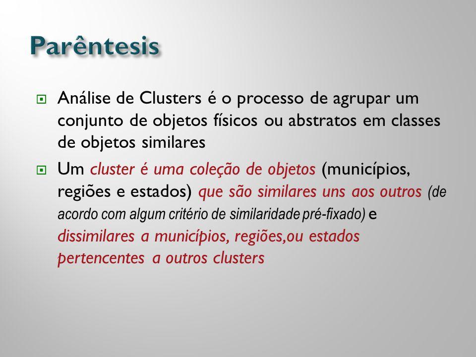  Análise de Clusters é o processo de agrupar um conjunto de objetos físicos ou abstratos em classes de objetos similares  Um cluster é uma coleção d