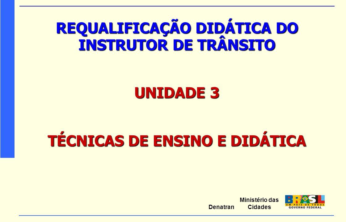 Ministério das Cidades Denatran REQUALIFICAÇÃO DIDÁTICA DO INSTRUTOR DE TRÂNSITO UNIDADE 3 TÉCNICAS DE ENSINO E DIDÁTICA