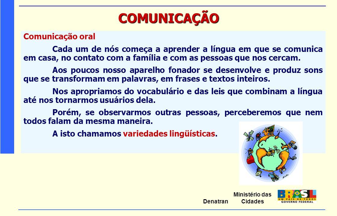 Ministério das Cidades Denatran COMUNICAÇÃO Comunicação oral Cada um de nós começa a aprender a língua em que se comunica em casa, no contato com a fa