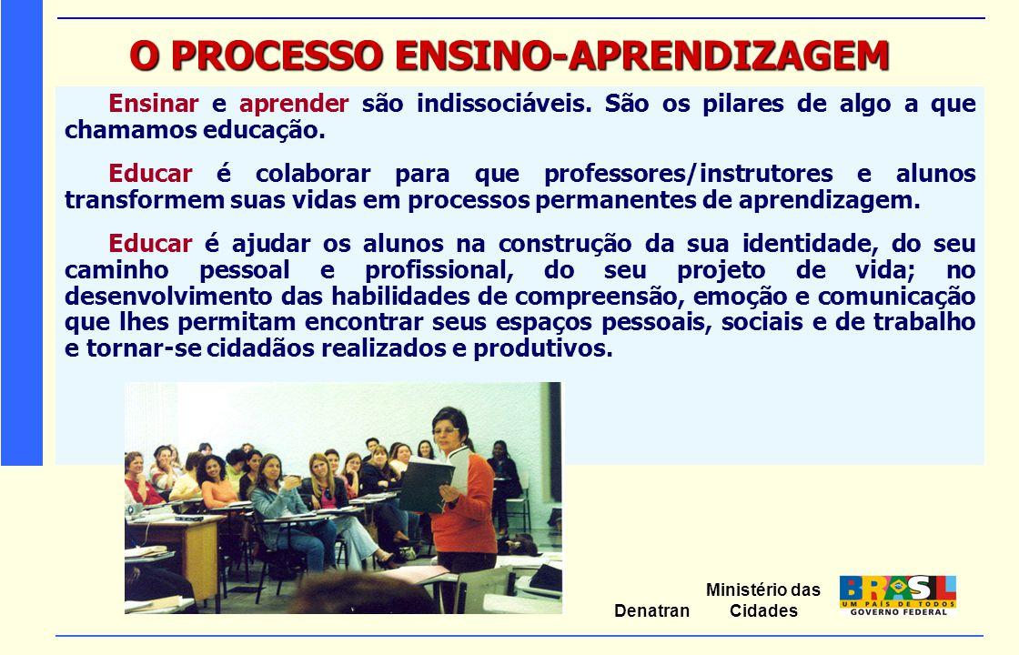 Ministério das Cidades Denatran O PROCESSO ENSINO-APRENDIZAGEM Ensinar e aprender são indissociáveis. São os pilares de algo a que chamamos educação.