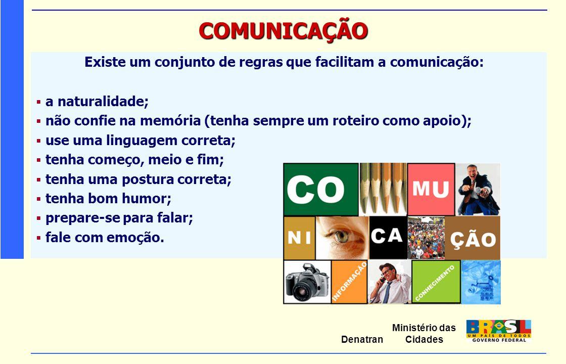 Ministério das Cidades Denatran COMUNICAÇÃO Existe um conjunto de regras que facilitam a comunicação:  a naturalidade;  não confie na memória (tenha