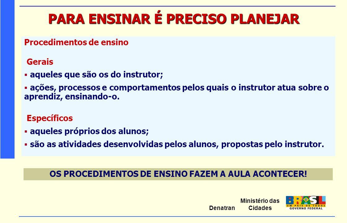 Ministério das Cidades Denatran PARA ENSINAR É PRECISO PLANEJAR Procedimentos de ensino Gerais  aqueles que são os do instrutor;  ações, processos e