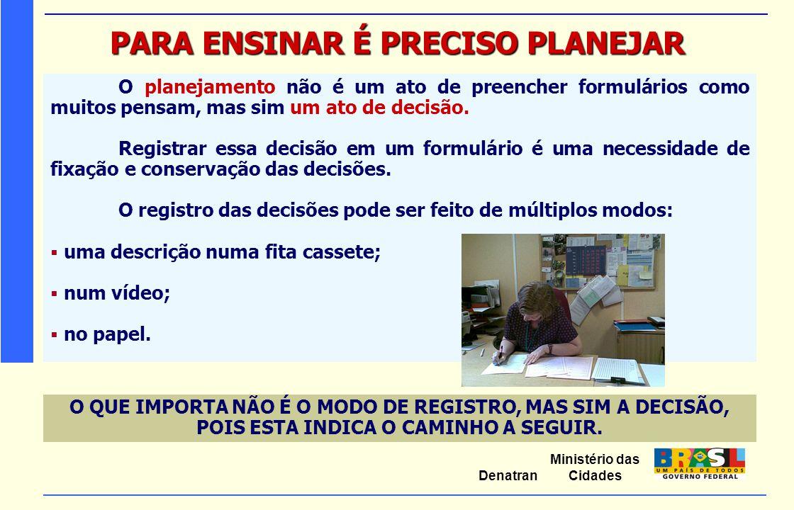 Ministério das Cidades Denatran PARA ENSINAR É PRECISO PLANEJAR O planejamento não é um ato de preencher formulários como muitos pensam, mas sim um at