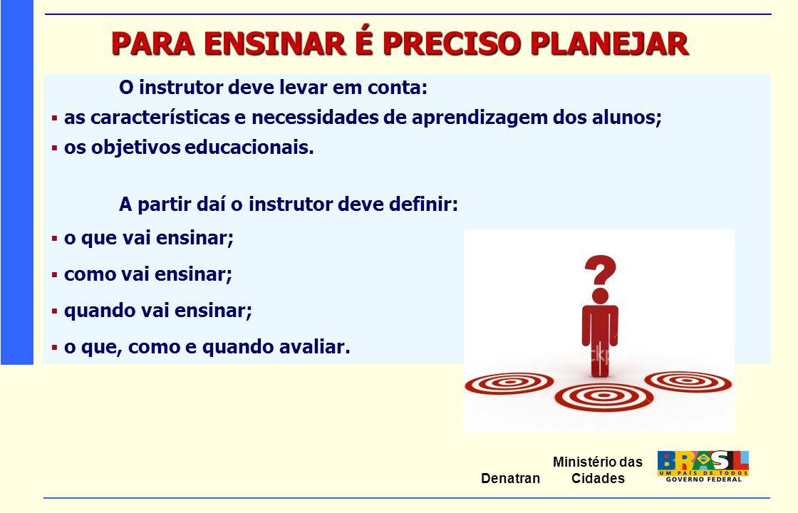 Ministério das Cidades Denatran PARA ENSINAR É PRECISO PLANEJAR O instrutor deve levar em conta:  as características e necessidades de aprendizagem d