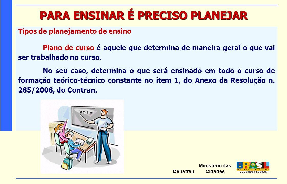 Ministério das Cidades Denatran PARA ENSINAR É PRECISO PLANEJAR Tipos de planejamento de ensino Plano de curso é aquele que determina de maneira geral