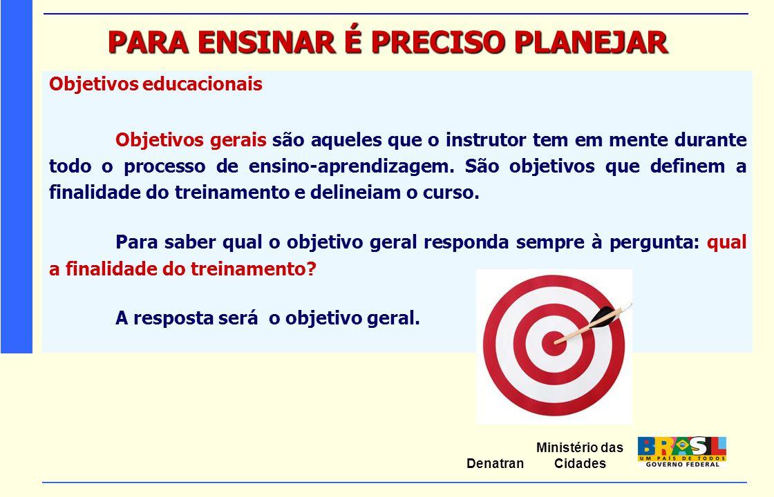 Ministério das Cidades Denatran PARA ENSINAR É PRECISO PLANEJAR Objetivos educacionais Objetivos gerais são aqueles que o instrutor tem em mente duran