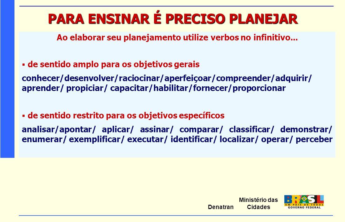 Ministério das Cidades Denatran PARA ENSINAR É PRECISO PLANEJAR Ao elaborar seu planejamento utilize verbos no infinitivo...  de sentido amplo para o