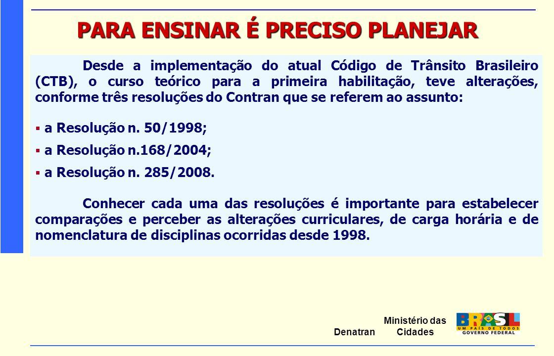 Ministério das Cidades Denatran PARA ENSINAR É PRECISO PLANEJAR Desde a implementação do atual Código de Trânsito Brasileiro (CTB), o curso teórico pa