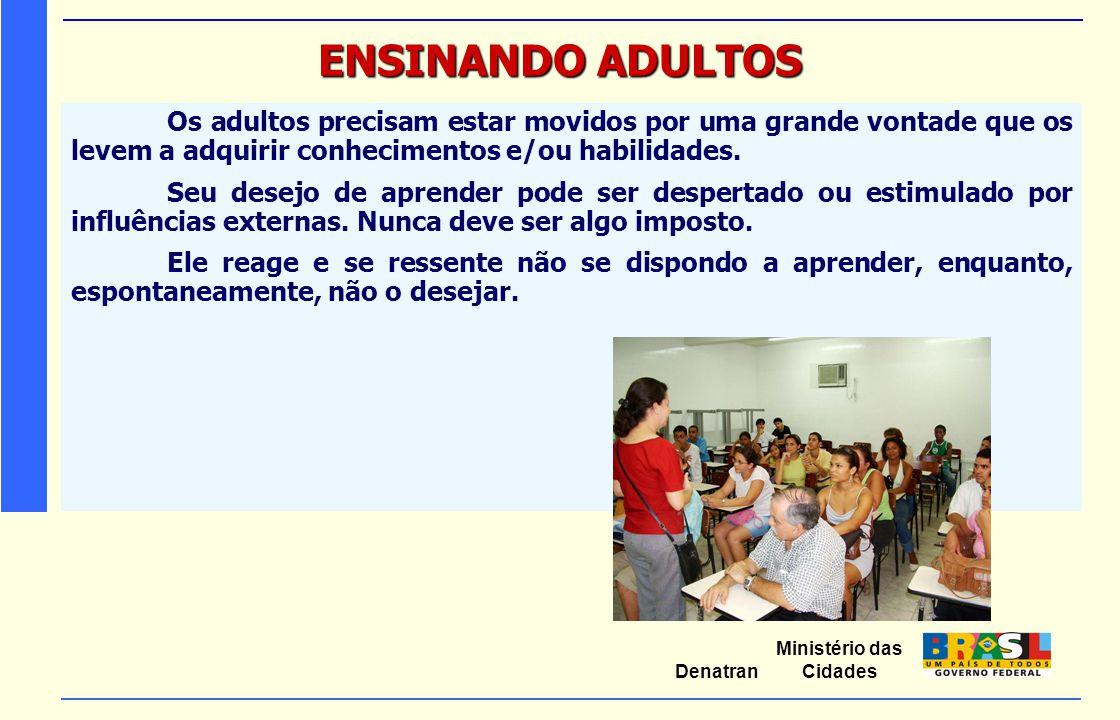 Ministério das Cidades Denatran ENSINANDO ADULTOS Os adultos precisam estar movidos por uma grande vontade que os levem a adquirir conhecimentos e/ou