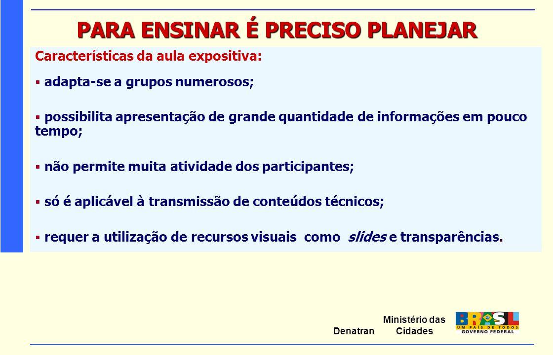 Ministério das Cidades Denatran PARA ENSINAR É PRECISO PLANEJAR Características da aula expositiva:  adapta-se a grupos numerosos;  possibilita apre