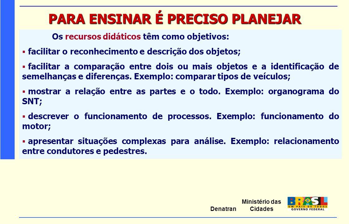 Ministério das Cidades Denatran PARA ENSINAR É PRECISO PLANEJAR Os recursos didáticos têm como objetivos:  facilitar o reconhecimento e descrição dos