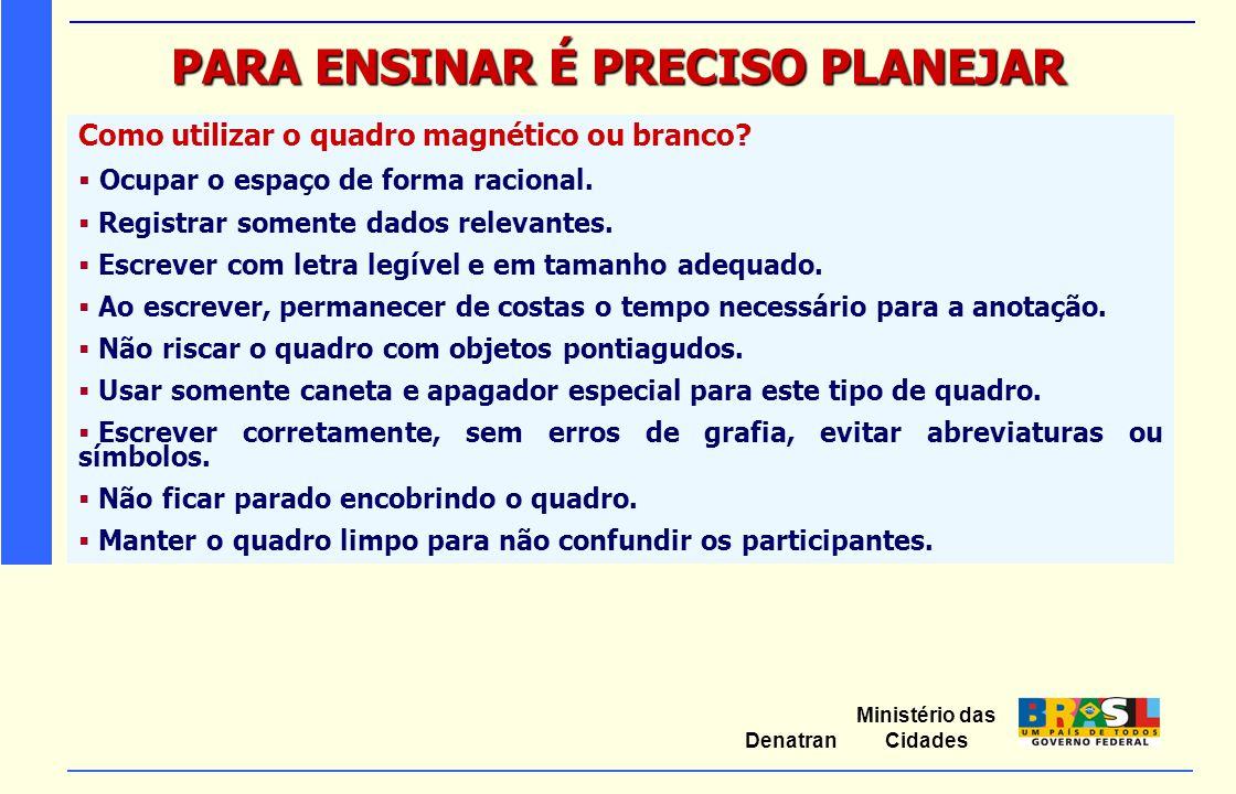 Ministério das Cidades Denatran PARA ENSINAR É PRECISO PLANEJAR Como utilizar o quadro magnético ou branco?  Ocupar o espaço de forma racional.  Reg