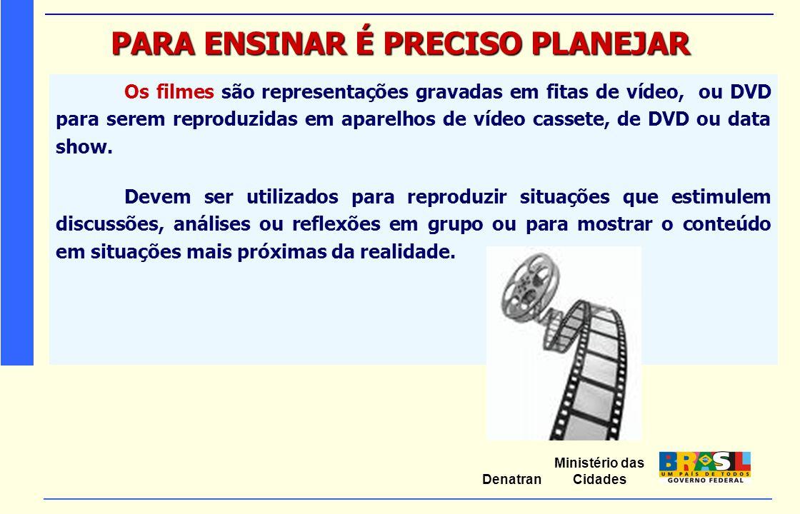 Ministério das Cidades Denatran PARA ENSINAR É PRECISO PLANEJAR Os filmes são representações gravadas em fitas de vídeo, ou DVD para serem reproduzida