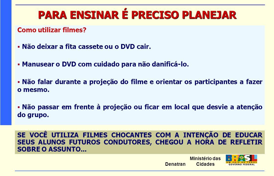 Ministério das Cidades Denatran PARA ENSINAR É PRECISO PLANEJAR Como utilizar filmes?  Não deixar a fita cassete ou o DVD cair.  Manusear o DVD com